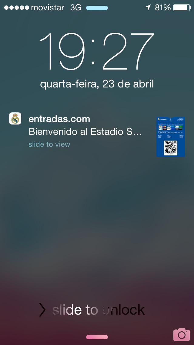 Passbook do iPhone exibe o ingresso quando chegamos próximos ao estádio